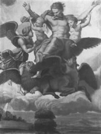 gottvater mit 2 geflügelten putten über allegorischen aposteldarstellungen by franz müller