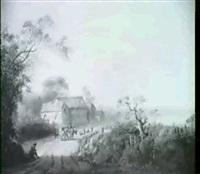romantische landschaft mit bauerngehoft, davor viehtreiber mit zwei kuhen by gerardus post