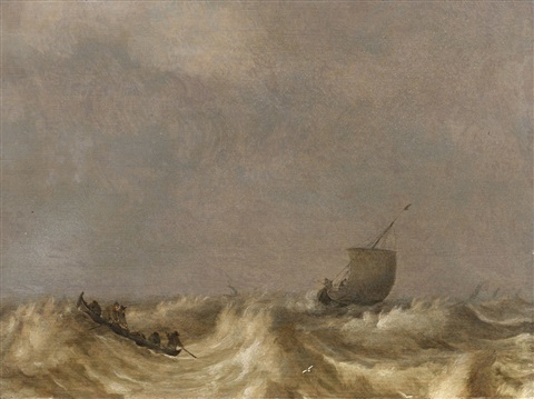 stormy sea with fishing boats by pieter mulier the elder