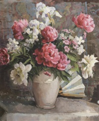 peonies and iris in a white vase with fan by fanny s. eanes