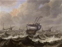 ships in a stormy sea by pieter mulier the elder