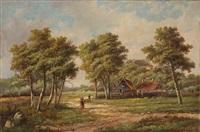 landschaft mit gehöft by hendrik barend koekkoek