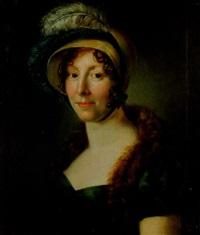 porträtt av maria lovisa brink g.leffler, klädd i hatt med plymer, grön empireklänning samt skinnboa by per krafft the younger