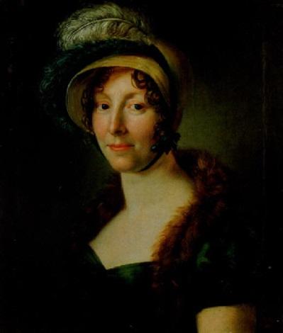 porträtt av maria lovisa brink gleffler klädd i hatt med plymer grön empireklänning samt skinnboa by per krafft the younger