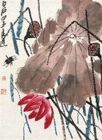 荷塘清趣 镜心 纸本 by qi liangchi