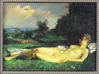 liegender weiblicher akt auf einer wiese vor landschaft by theodor baierl
