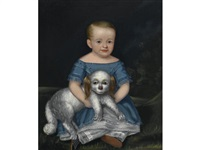 girl in a blue dress with her pet dog by joseph whiting stock