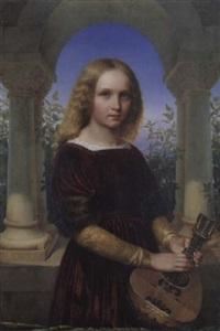 ein mädchen mit mandoline by julius theodor konig