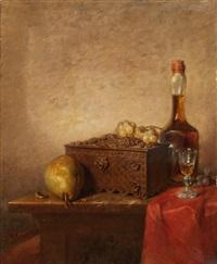 stillleben mit holztruhe, birne und whisky by pierre louis de coninck