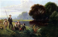 river scene with boys fishing by edwin henry boddington