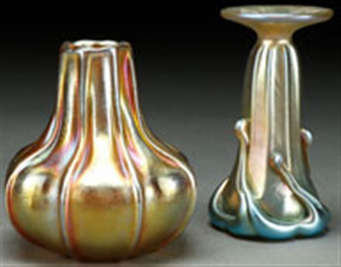A Fine Pair Of L C Tiffany Favrile Glass Vases Circa 1900 By