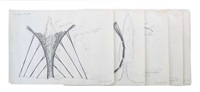 preparatory drawings for the tel hai project (6 works) by paul gees