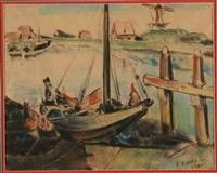 bateaux amarrés à veere by reimond kimpe