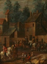 people gathering in a town by gottfried hendrik rode