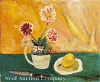 still life, flowers in jug with pear and knife by hazel guggenheim mckinley