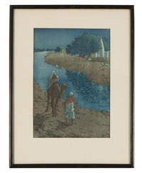by the river, jaunpur, india by charles william bartlett