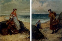 fisherwoman by the sea (+ morning catch; pair) by hamilton macallum