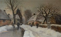 paysage hivernal avec moulin by maurice dupuis