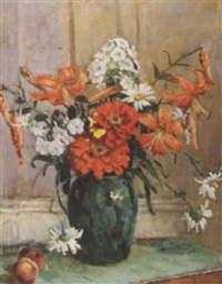 zinnias, tiger lilies and daisies in a green porcelain vase by fanny s. eanes