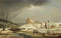 vinterlandskab med huse og en kirke by frederik michael ernst fabritius de tengnagel