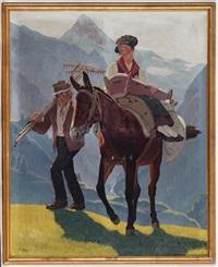 famille de paysans du val d'hérens et mulet devant la dent blanche by paul-léon bleger