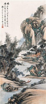 寒江听雨图 (listen to the rain by the cold river) by qi dakui