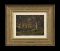wooded landscape at sunset by ralph albert blakelock
