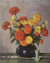red & orange zinnias in a cobalt vase by fanny s. eanes