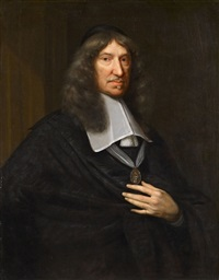 portrait of pieter van loon holding a medal by bernard vaillant