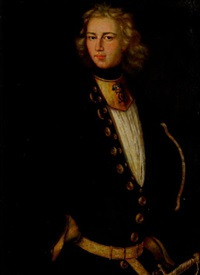 porträtt av en av karl xii:s drabanter by johann david swartz