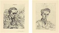 portrait walter kaemper / portrait dr. wolfers (pls 1 & 2 from 17 radierungen) by ludwig meidner