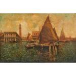 venetian scene with sailboat by nicholas briganti