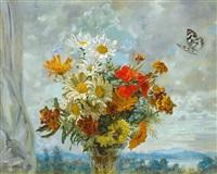 bunter blütenstrauß im sonnigen licht mit schmetterlingen, im hintergrund gebirgspanorama by ludwig bartning