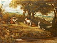 idylle au bord du ruisseau by john linnell