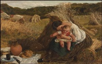 a well-deserved lunch, a woman with child with infant in a hayfield and figures cutting hay beyond by james clarke hook