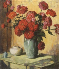zinnias in sunlight on green table by fanny s. eanes
