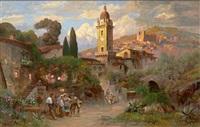 malerisches italienisches kirchdorf mit figurenstaffage und schafherde by alwin arnegger