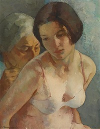 the artist's wife and daughter (two generations) by mischa askenazy