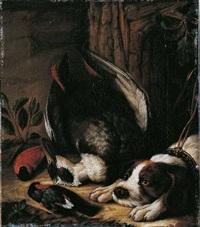 tierstillleben mit apportierhund by johann friedrich grooth