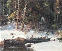 a stream in winter by marlin linville