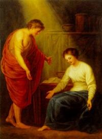 interior med kvinde og ung mand i klassiske gevandter by louis farasyn