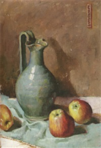 still life with green pichter and apples by fanny s. eanes