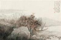 秋山隐渔图 (landscape) by xu xinrong