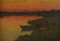french river landscape at sunset with punt by hugh henry breckenridge