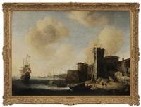 mediterranean harbor scene by jan abrahamsz beerstraten
