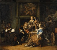 companions making music by gerbrand van den eeckhout
