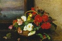 opstilling med blomster i kurv by signe andreasen
