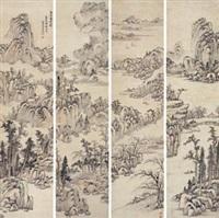溪山高远图 (in 4 parts) by luo mu (lo mou)
