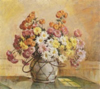 spray of mums, yellow & white daisies on green tablecloth by fanny s. eanes