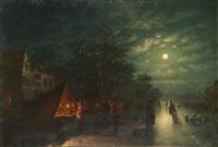 kvällsbild med skridskoåkare och folksamling by johann mongels culverhouse